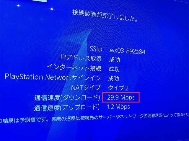 PS4とwimaxは速度は早い