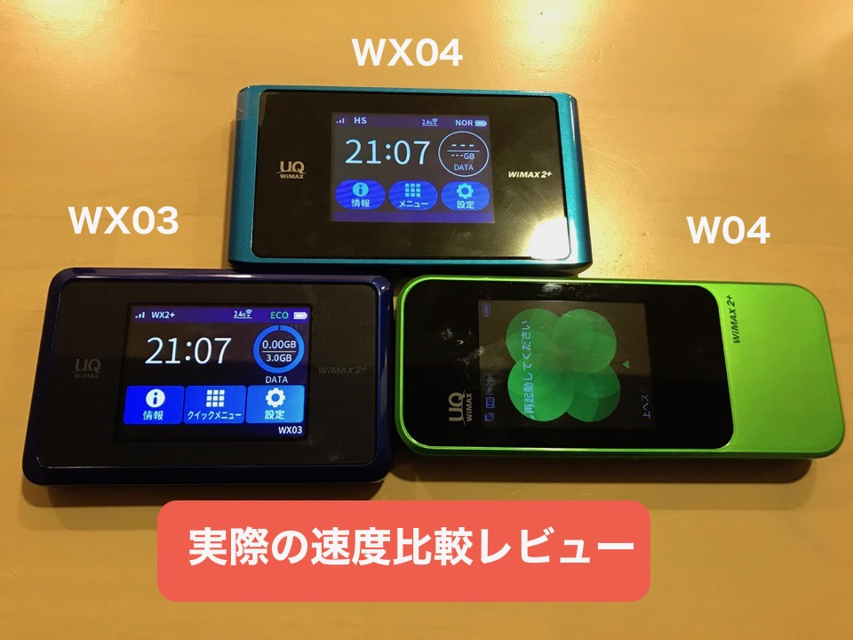 WIMAX端末「WX04」「W04」「WX03」の速度比較レビュー